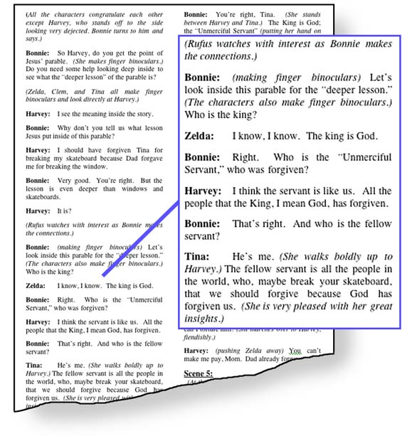 An image of the SKITuations script showing examples of biblical truth.