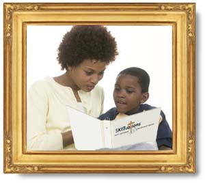 A framed picture of a mom reading a SKITuations script for children's church to her son.