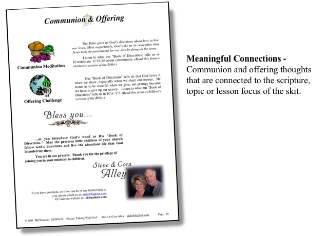 An image of the SKITuations Communion & Offering page.