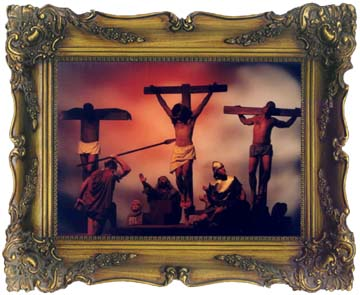 "A framed ""masterpiece"" of The Roman soldier piercing the side of Jesus on the cross."
