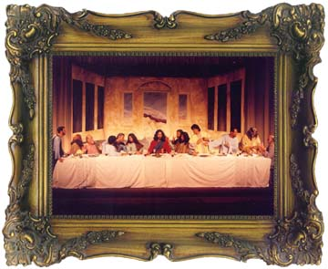 "A framed ""masterpiece"" of The staging of the ""Last Supper."""