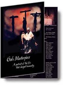 """The front of the program for """"God's Masterpiece."""""""