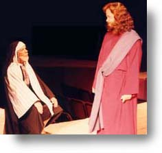 Jesus talking with Nicodemus.