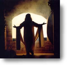 An image of Jesus silhouetted in front of the open tomb.