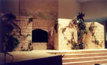 The tomb scene on stage.