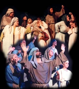 """A montage of images from """"God's Masterpiece"""" depicting angry people and people praising God."""