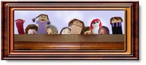 A framed picture of puppets.