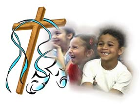 An image of smiling children with the Cross and happy/sad faces.
