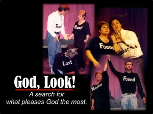 "A graphic logo and montage of images for ""God, Look!"""