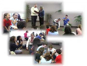 A montage of images showing children enjoying a skit, and engaged in small group discussions.