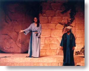Two women narrators, in Bible costumes.