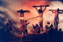 The Roman soldier piercing the side of Jesus on the cross at main stage.