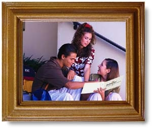 A framed image of teens on a stairway rehearsing a script.
