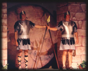 Roman soldiers guarding the sealed tomb.