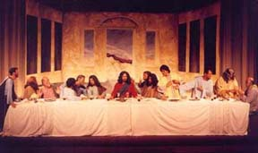 The staging of the Last Supper at center stage.