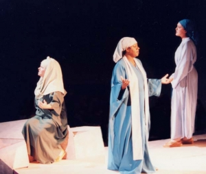 The three narrator women dressed in Bible costumes.