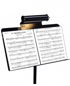 A music stand with sheet music on it.