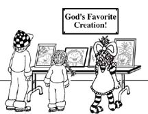 A cartoon drawing of a SKITuations script - God's Creation: A Gift of Love - (Electronic)